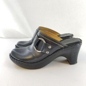 FRYE Black Leather  Harness Mule Clog Sz 8 M